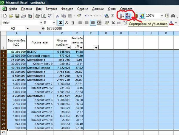 Как сделать сортировка по строкам в excel